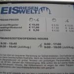 Eintrittspreise 2009 Eisriesenwelt Werfen
