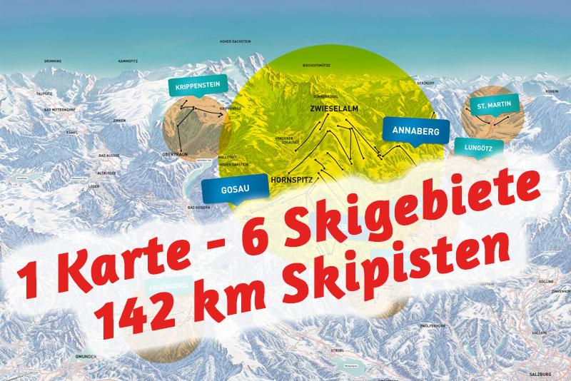 6 Skigebiete in einem Skiticket vereint in Dachstein West