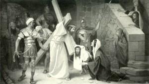 Szene aus dem Kreuzweg Jesu mit Veronika