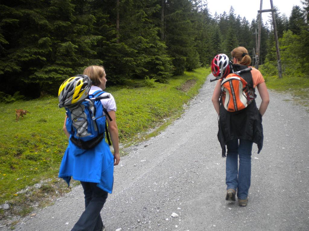 mit dem Bockerl und Helm auf dem Rücken wird zuerst gewandert...