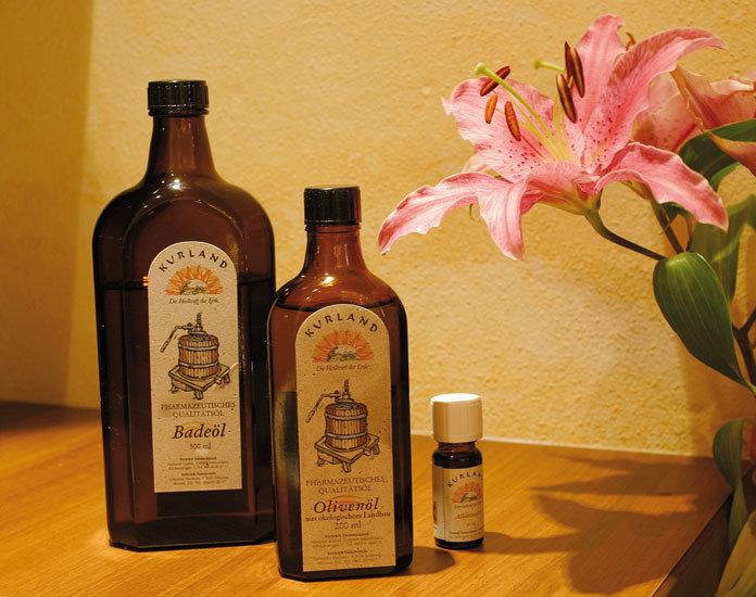 Massage-Öle im Wellnessbereich des Hotel Lämmerhof