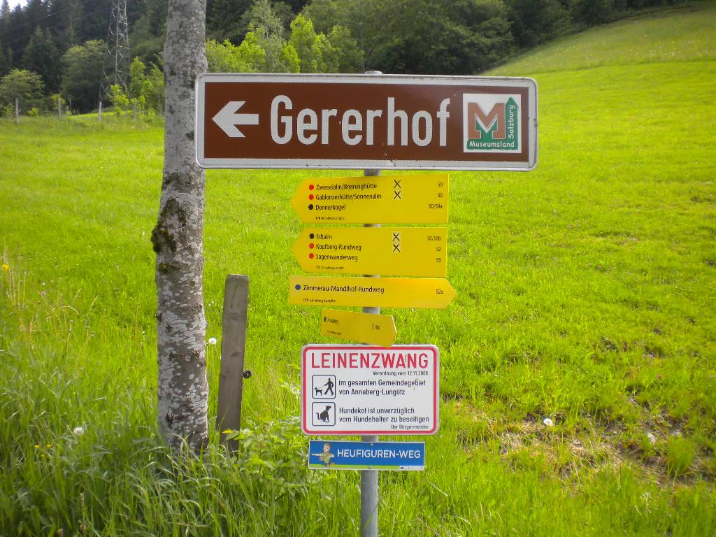 Wegweiser zum Heimatmuseum Gererhof
