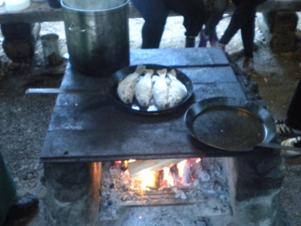 Forellen am offenen Feuer in der Pfanne braten