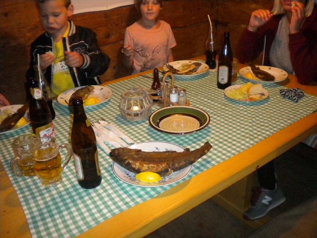 Frische Forelle am Tisch