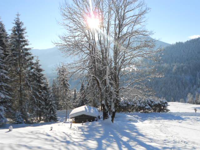 Sonnenschein bei Winterwanderungen in den Alpen