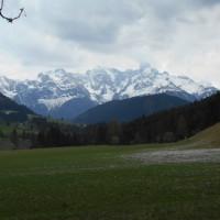 Verschneiter Gosaukamm vom Alengasthof Lämmerhof im Salzburger Land