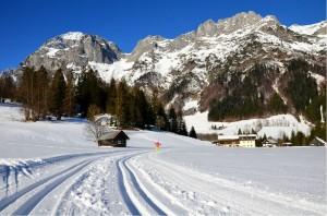 Lammertal-Langlaufloipe im Jänner 2014 beim Berghotel Lämmerhof