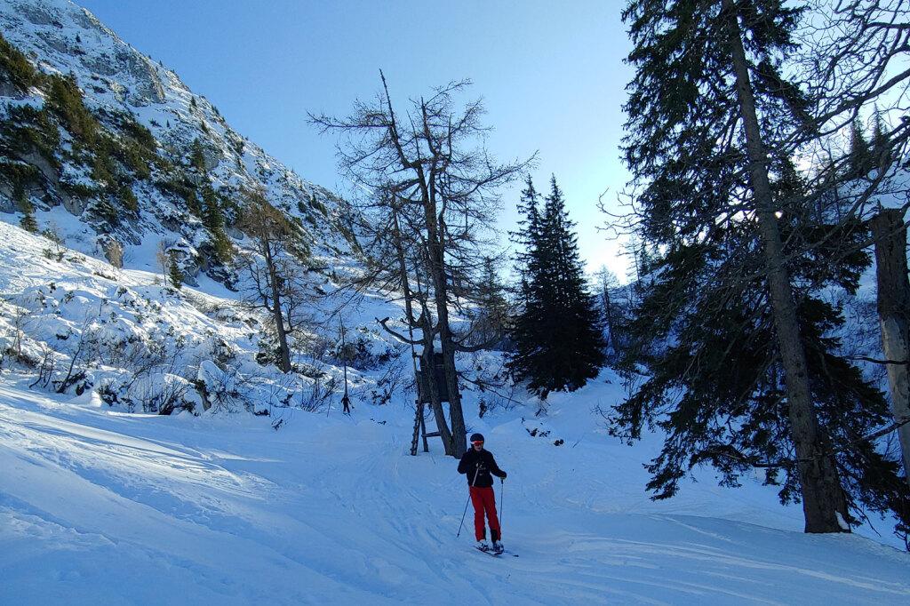 Skifahrer übt im Tiefschnee
