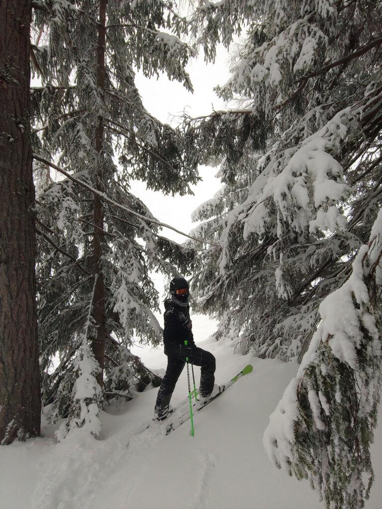 Skischüler im Tiefschnee